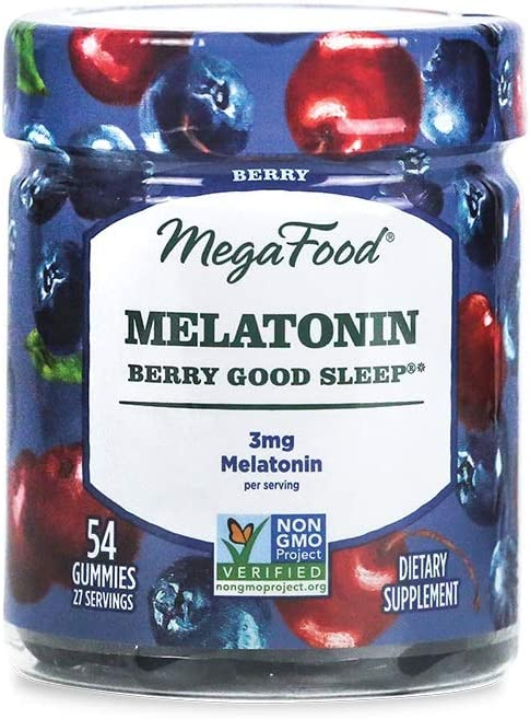 MegaFood, Melatonin Berry Good Sleep Gummies, Soft Chew Supplement to Support Relaxation Vegan, 54 Gummies