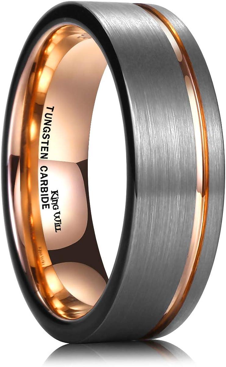 King Will Wolframcarbid Ehering 7 mm Ros/égold Line Flacher Rohrschnitt geb/ürstet poliert Bequeme Passform