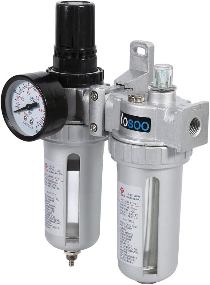 Yosoo Compresseur dair Pi/ège /à humidit/é Filtre /à eau et huile R/égulateur de pression Outil de lubrification