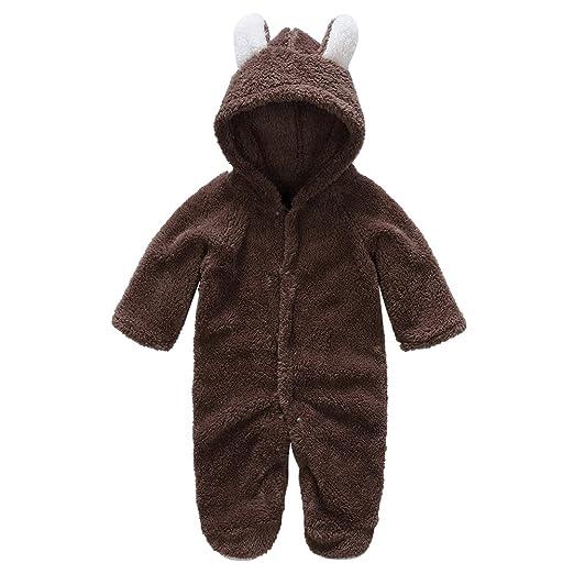 c62f8e2ef89 Baby Unisex Long Sleeve Jumpsuit Animal Velvet Warm Rompers(Brown 0-3m)