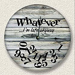 Fancy This Whatever Im Late Anyway Wall Clock Weathered Boards Printed Image Beach Sand tan
