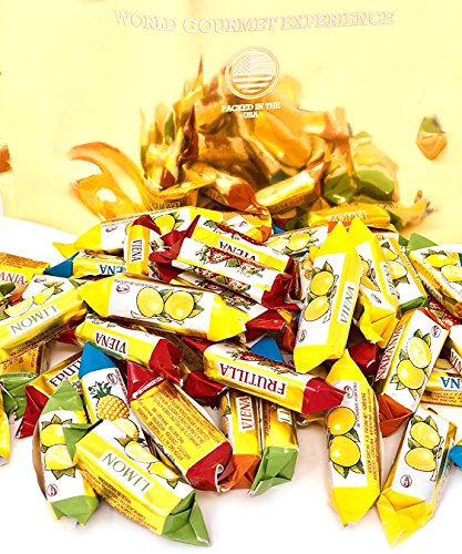 Arcor Premium Hard Candy - Vienna Assorted Fruits Filled Hard Candies Bulk Wrapped (2Lb) (Soft Candy Filling)
