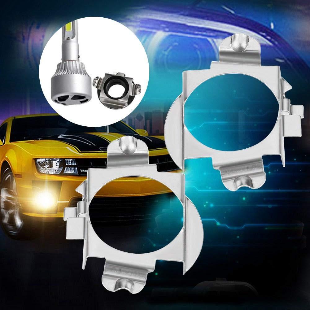Cuque 1 coppia Supporti adattatore H7 in Acciaio inossidabile Supporto fari per Adattatore LED H7 Argento