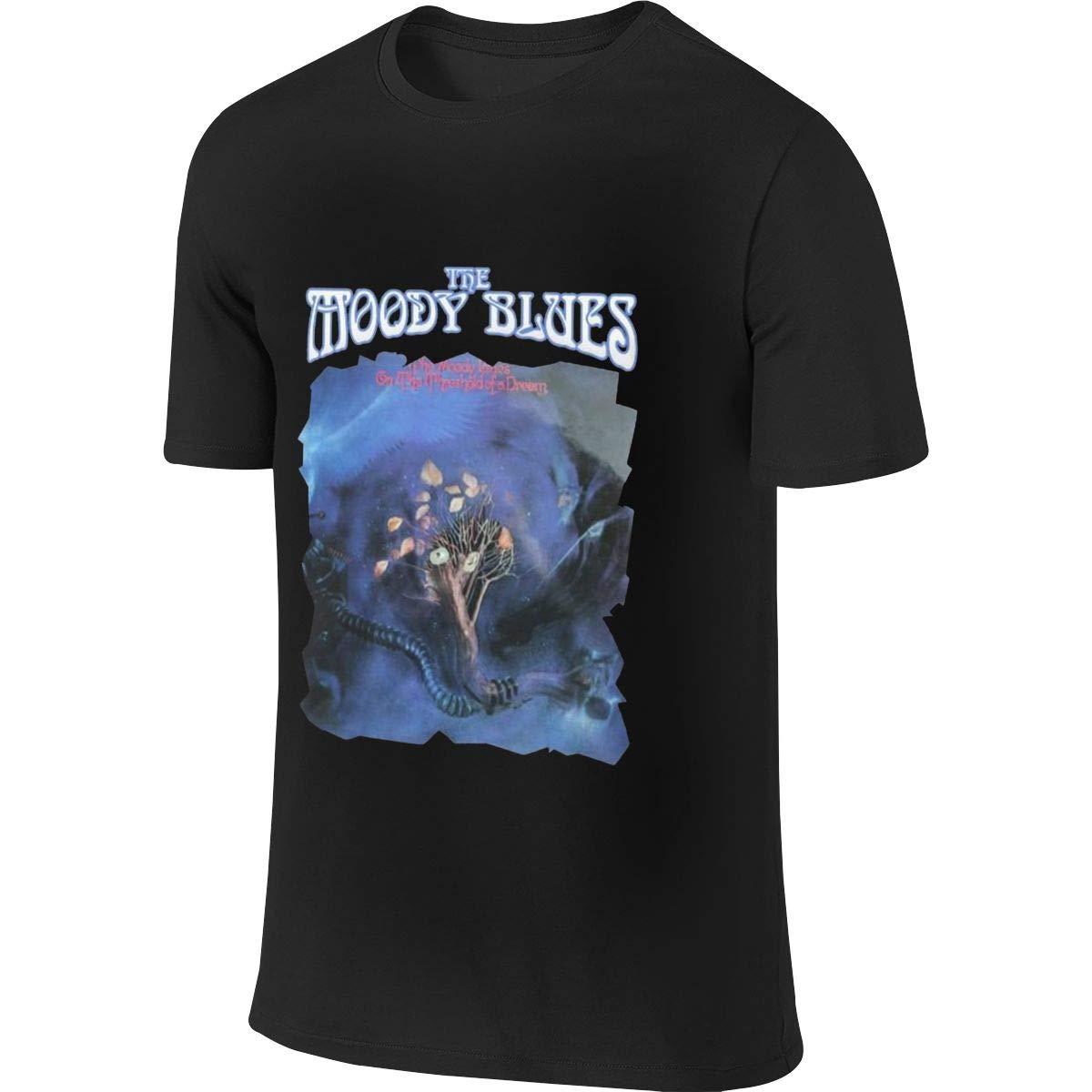 ACFUNEJRQ The Moody Blues Mens Cotton Round Neck Short Sleeve T-Shirts