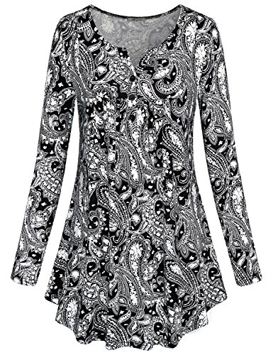 - SeSe Code Long Sleeve Tunic Tops, Women's Crewneck Vintage Floral Shirts Flared Casual Slim Fit Draped Basic Blouses Black XL
