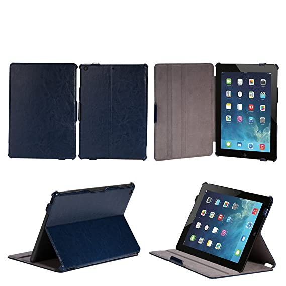 competitive price fd352 384eb AceAbove Apple iPad Air Case - Slim-Fit Case with Stand for iPad 5 Air (5th  Gen) Tablet, NAVY BLUE (With Smart Cover Auto Wake / Sleep)
