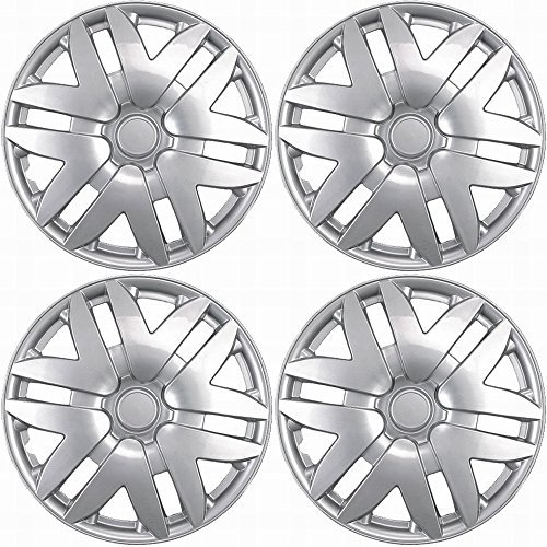 Hubcaps for Toyota Sienna (Pack of 4) Wheel Covers - 16 Inch, 6 Spoke, Snap On, Silver
