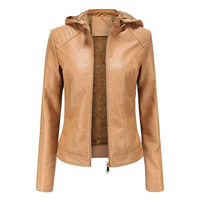 Ninasill Women Jacket Fashion Autumn Winter Coat Faux Leather Zipper Overcoat Hooded Outwears: Clothing