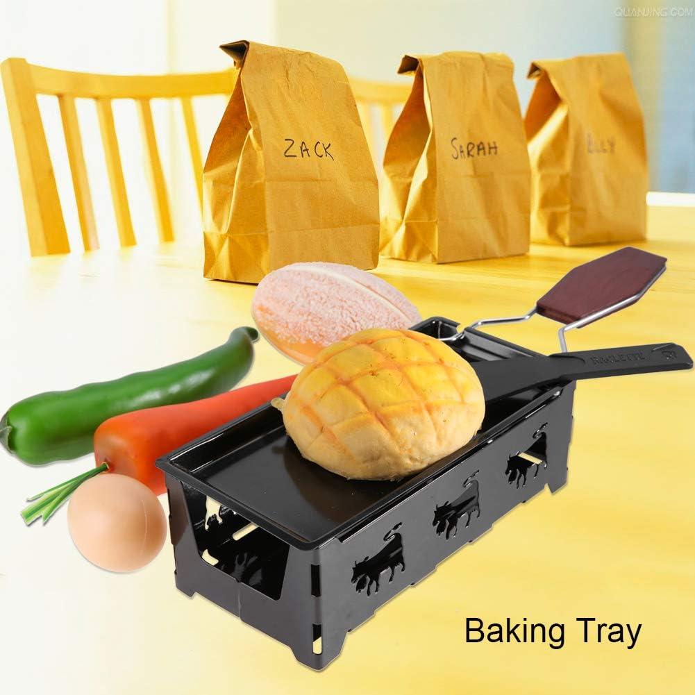 Bandeja de horno port/átil con luz de velas y raclette herramienta de parrilla para el hogar de acero al carbono antiadherente cocina con mango de madera