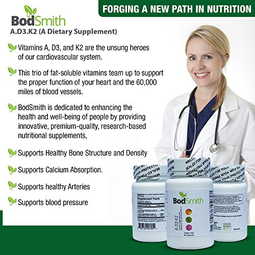 BodSmith A.D3.K2 Vitamins ADK Premium Quality Research Based Nutritional Supplement Complex for Strong Bones and a Healthy Heart 60 ct.