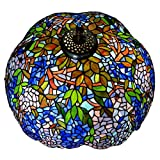 Bieye S10001 22-inches Wisteria Tiffany Style Stained Glass Lampshade
