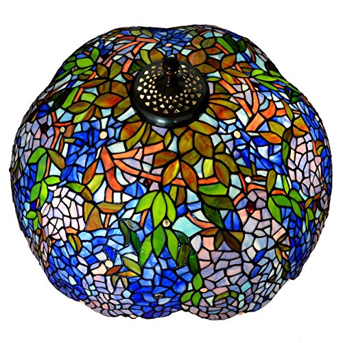 Bieye S10001 22-inches Wisteria Tiffany Style Stained Glass Lampshade by Bieye