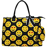 Ngil Quilted Cotton Extra Large Overnight Travel School Tote Bag 2 (Emoji Black)