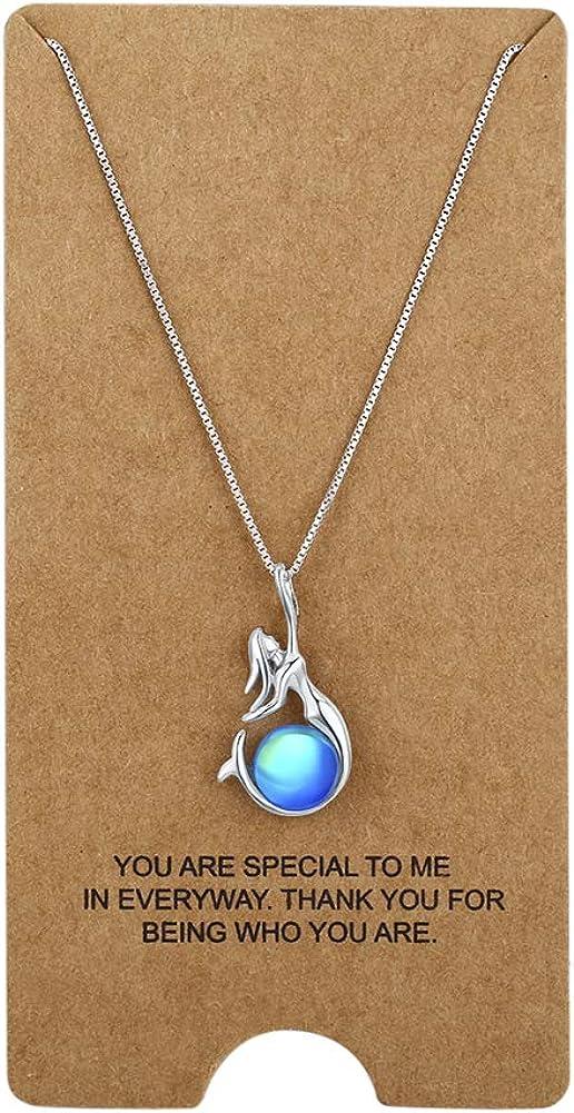 WRISTCHIE - Collar de plata de ley 925 con colgante de perla cultivada en agua dulce y sirena, 45,7 + 5 cm