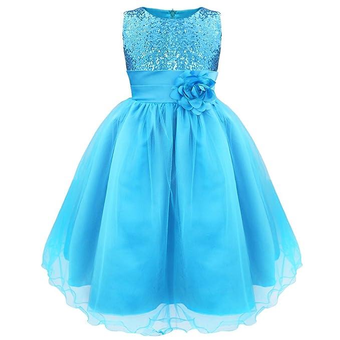 iEFiEL Vestido Elegante Boda Fiesta Bautizo para Nina Chica Vestido Lentejuelas Flor Brillante Ceremonia Niña Azul