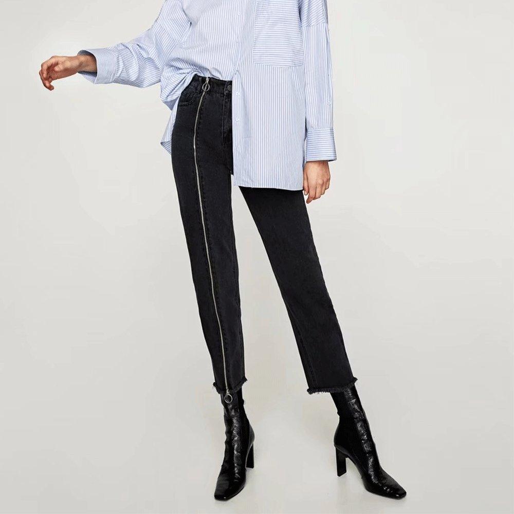 EVEDESIGN Womens Zip Deco Straight Jeans High Waist Authentics 5-Pocket Loose Jean