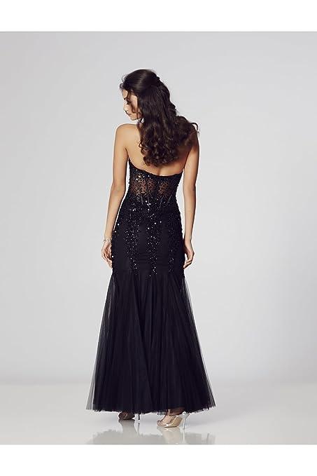 Tiffanys Illusion Prom Navy Eliza Strapless Sweetheart Prom Dress: Amazon.co.uk: Clothing