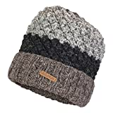 100% Wool Hand Knitted Winter Popcorn Design Tuque witht Polar Fleece Lining