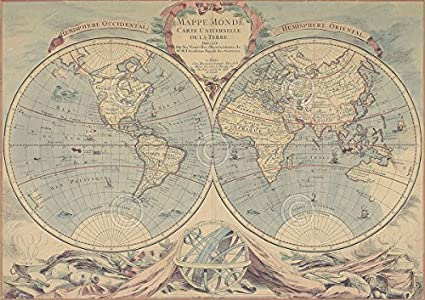 Amazon Com World Map 18th Century By Bourgoin Vintage Print
