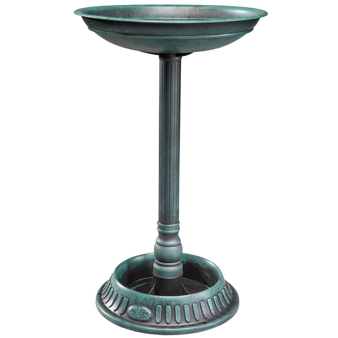 MS HOME Multi-Purpose Neoclassic Plastic Birdbath With Planter in Green/Black Finish - Birdbath basin: 15'' Dia - Planter: 10'' Dia - 25'' H