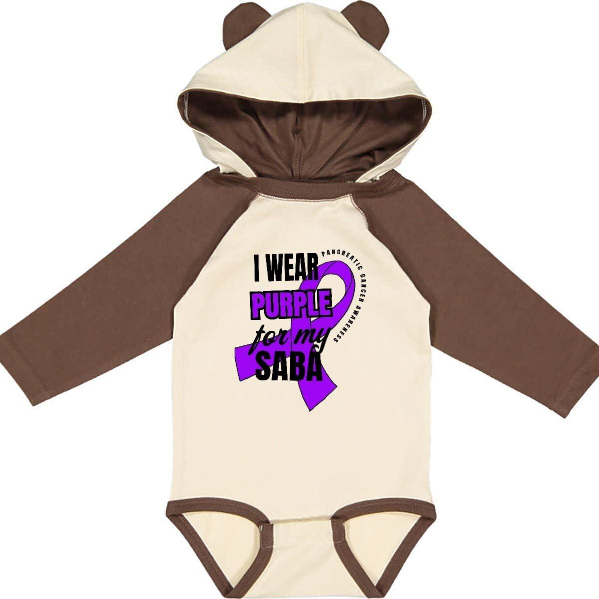 inktastic I Wear Purple for My Saba Pancreatic Cancer Long Sleeve Creeper