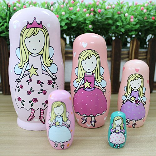 5pcs Hand Painted Pink Angel Wooden Russian Nesting Dolls - 3
