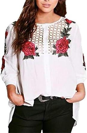 Blusa Suelta para Mujer Blusa Estampada Floral Camisa Basic Clásica Blusa Bordada De Manga Larga Camisa Suelta Camiseta De Manga Larga para Arriba Ropa: Amazon.es: Ropa y accesorios