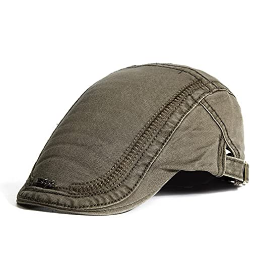 ad501cdf93d HSRT Mens Cotton Embroidery Painter Berets Caps Casual Outdoor Visor  Forward Hat Army Green
