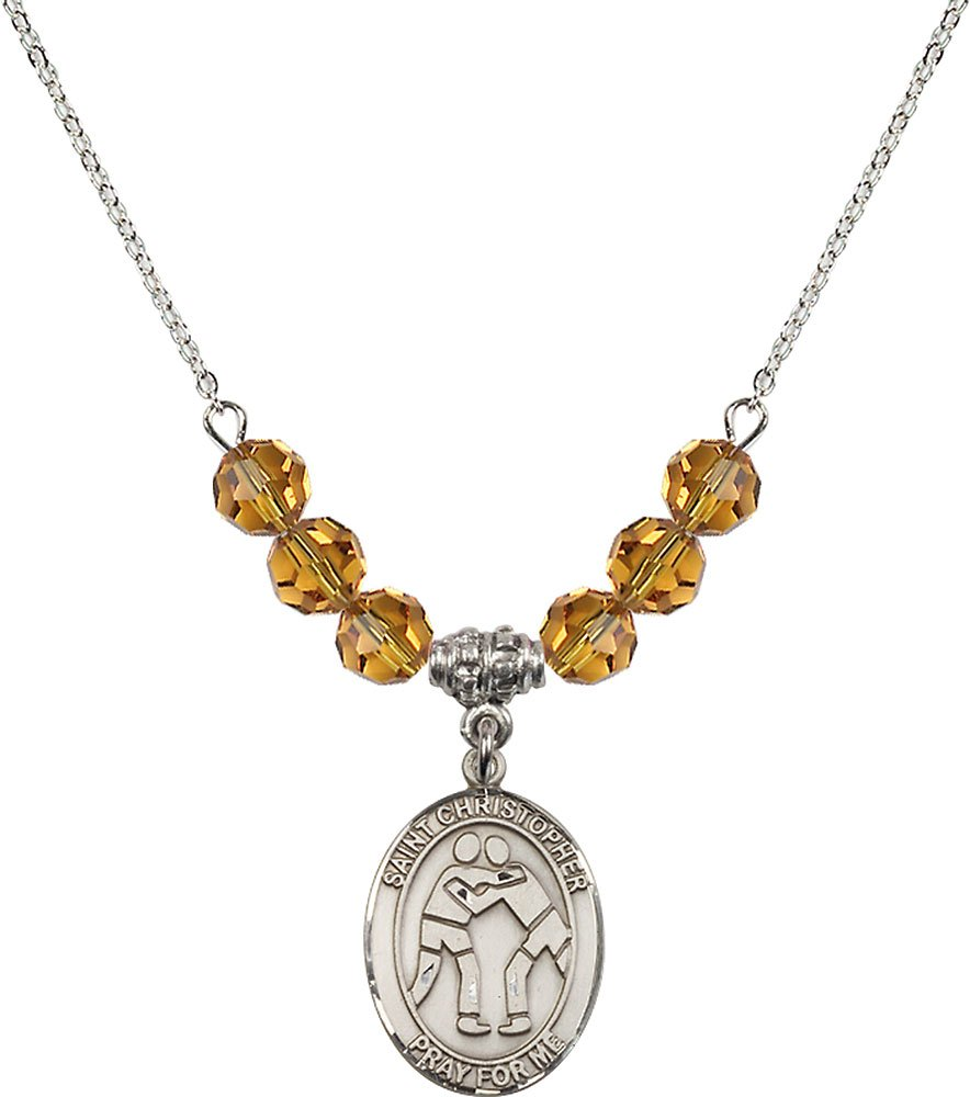 Rhodium Plated Necklace with 6mm Topaz Birthstone Beads & Saint Christopher/Wrestling Charm.