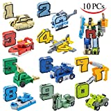 JOYIN 10 Pieces Number Robot Transformer Action Figure Autobots Toys for Birthday Party, School Classroom Rewards, Carnival Prizes, Pinata Fillers, S.T.E.A.M. Pre-school Education Toy Fidget Toys