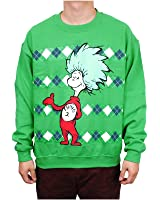 Dr. Seuss Thing 1 or Thing 2 Mens Pullover, Green (XL, Thing 2)