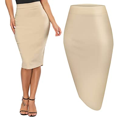 5086bdb71 Premium Women's Pencil Skirt, Elastic Waist, Stretch Bodycon Midi Skirt  (Large, Off