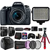 Cheap Canon EOS 77D 24.2MP DSLR Camera + 18-55mm + 58mm Filter Kit + Telephoto & Wide Angle Lens + 32GB Memory Card + Wallet + Reader + Led Video Light + Case + Flexible Tripod + 3pc Cleaning Kit