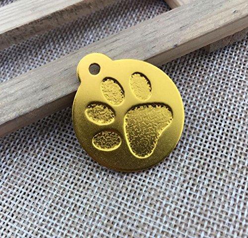 Happy-little-bear Patrón de Huella Redonda Colgante de Etiqueta de Perro de Color Puro (Dorado)