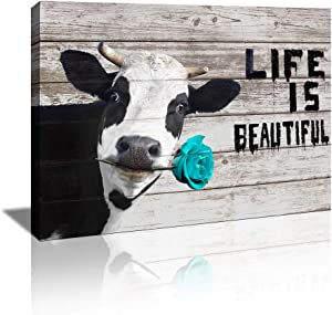 KuyiArt-Home Décor Picture Canvas Wall Art Cute Cow with Inspiration Motto Canvas Prints Poster for Home Kitchen Bathroom Wall Decoration Ready to Hang (12x16inch)
