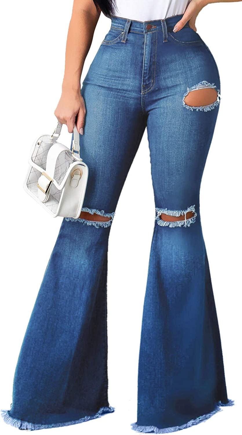 Women's Elastic Ripped Hole Classic Denim Bell Bottom Jeans