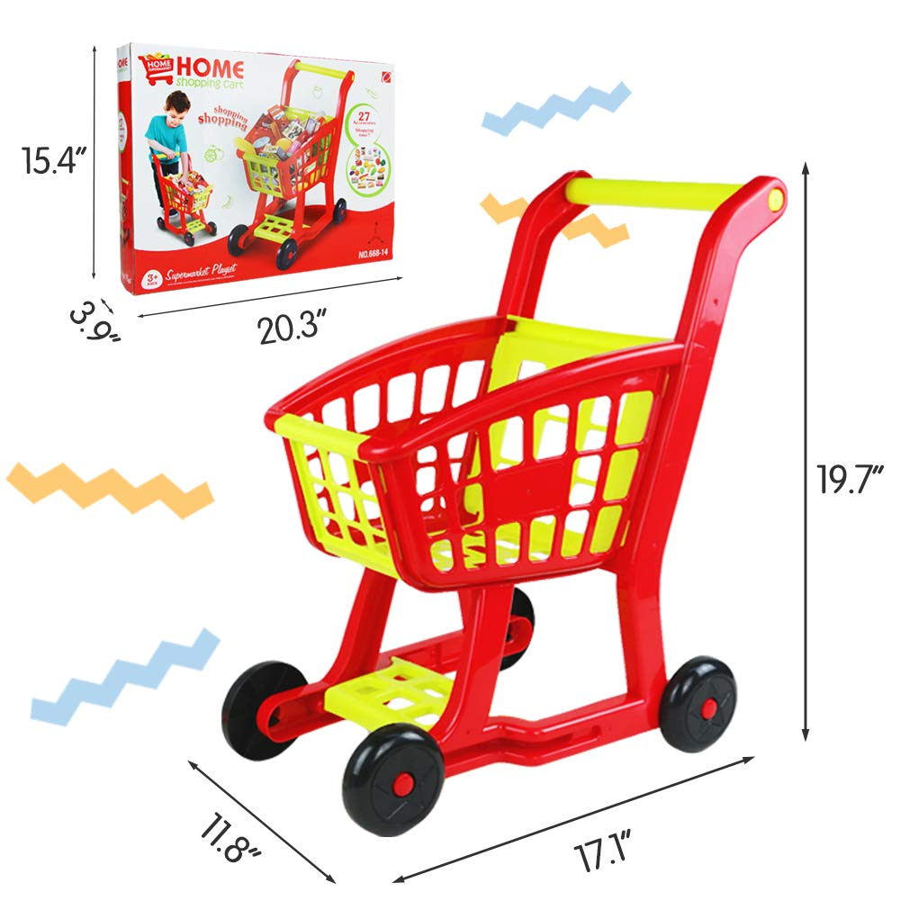 Fajiabao Kids Shopping Cart Toy Play Grocery Cart Trolley Supermarket Pretend Playset with 27 PCS Fruits Vegetables Food for Toddler Child Boys Girls 2 3 4 5 6 Years Old by Fajiabao (Image #4)