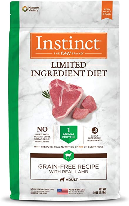 Instinct Limited Ingredient Diet Grain Free Recipe with Real Lamb Natural Dry Dog Food by Nature's Variety, 4 lb. Bag