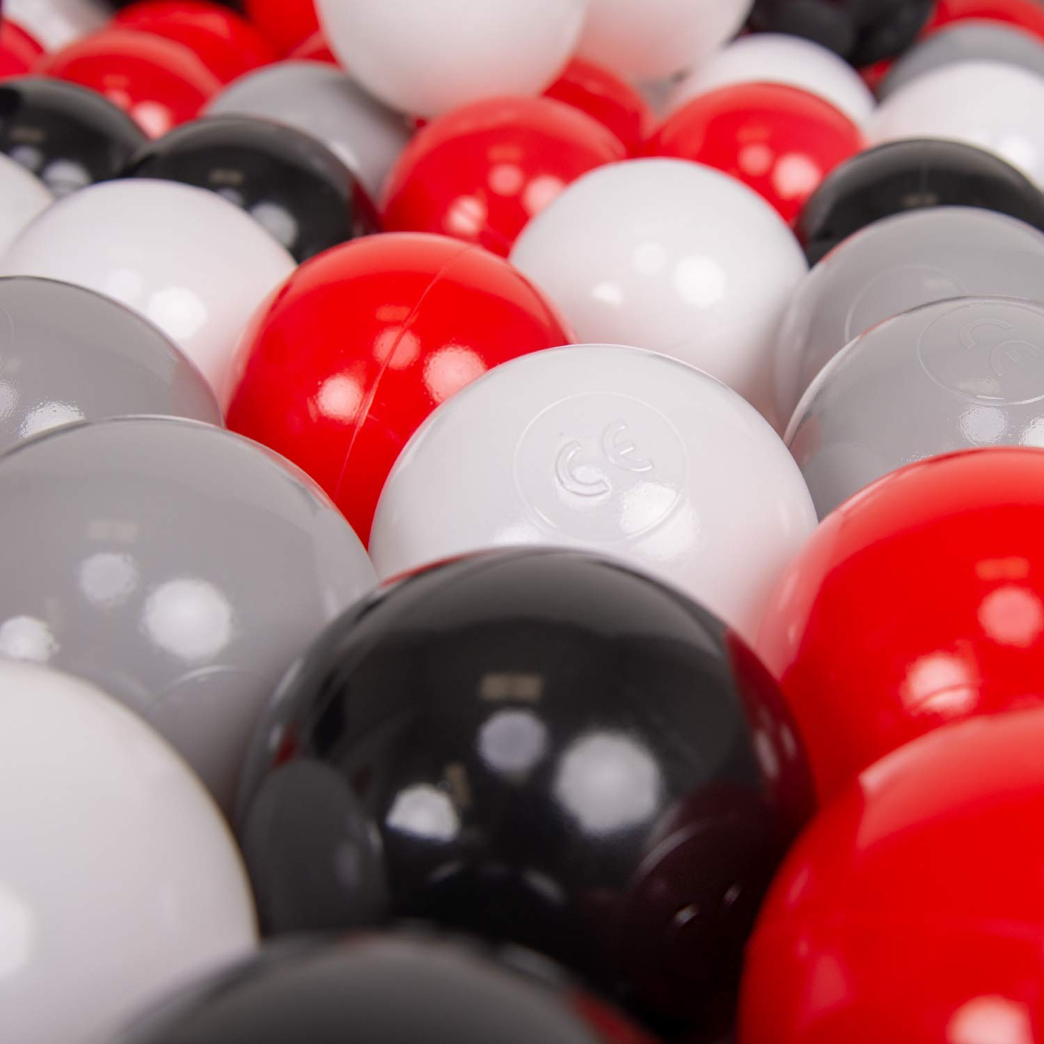Grey//White//Red//Black KiddyMoon 50 /∅ 7Cm//2.75In Soft Plastic Play Balls For Children Colourful Certified Made In EU