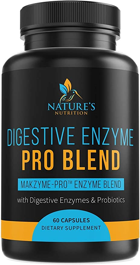 Digestive Enzymes with Probiotics and Prebiotics 1000mg - Daily Digestive Support Supplement - Made in USA - Formulated for Gas, Bloating, Digestion & Occasional Constipation - Non-GMO - 60 Capsules