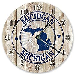 10.5 MICHIGAN STATE RUBBER STAMP CLOCK - Large 10.5 Wall Clock - Handmade Home Décor Clock
