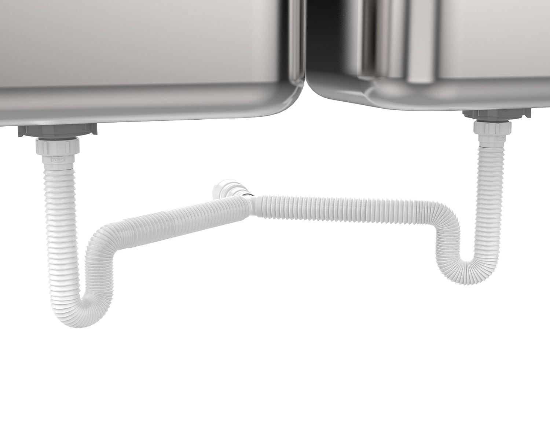 """EasyDrain Ref. 505 DOUBLE KITCHEN SINK PIPE Expandable & Flexible 1-1/2"""" P-trap"""