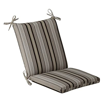 Pillow Perfect Indoor/Outdoor Black/Beige Striped Chair Cushion, Squared: Home & Kitchen