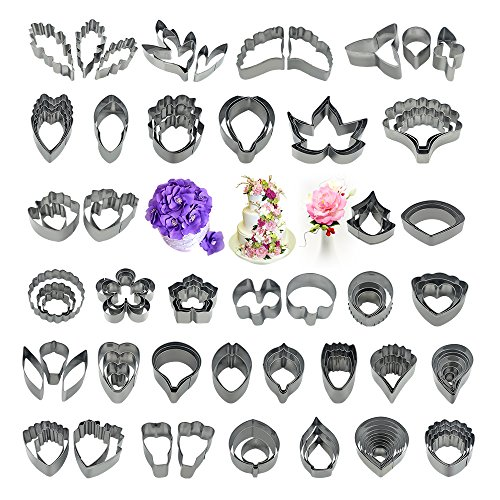 111Pcs Stainless Steel Gum Paste Flower and Leaf Cutter Set Petal Cookie Cutter Decoration Mold Fondant Sugarcraft Flower Making Tool for Wedding,Birthday Cake