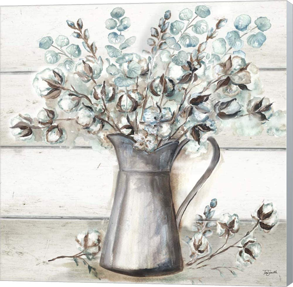Farmhouse Cotton Tin Pitcher by Tre Sorelle Studios Canvas Art Wall Picture, Museum Wrapped with Winter Gray Sides, 12 x 12 inches