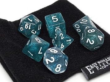 Easy Roller Dice Co. Juego de Dados de poliedro Verde Azulado, 7 Piezas a Juego, Bolsa de Transporte Gratuita, Calidad comprobada a Mano: Amazon.es: Juguetes y juegos