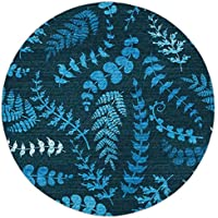 Round Area Rug Mat Rug,Indigo,Dark Green Backdrop Floral Swirl Leaves Branches Details Image,Turquoise Light Blue and White,Home Decor Mat with Non Slip Backing