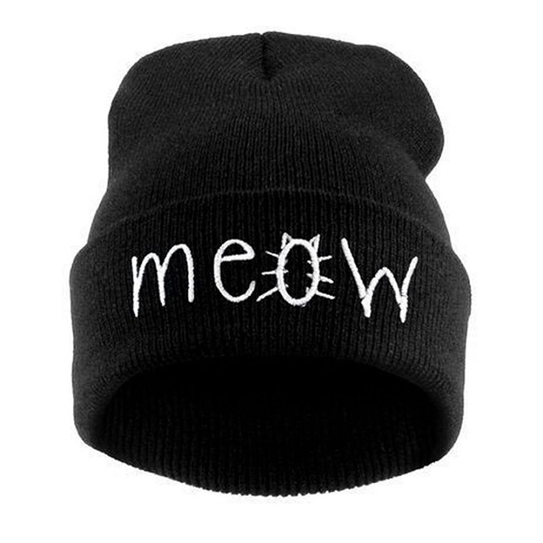 Women Men Winter Hat,Saingace Warm Knitting MEOW Beanie Skiing Hiphop Cap