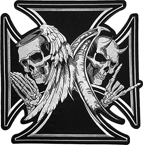 Skull Head Wings - [Super Large Size] Papapatch Skull Devil and Angel Wings Black Cross Ghost Biker Rider Motorcycle Jacket Vest Costume Embroidered Sew on Iron on Patch (IRON-DEVIL-ANGEL-MALT-SUPER-LARGE)