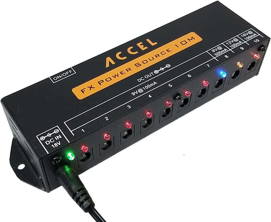 Accel FX Power Source 10M 10 Output Power Supply for Guitar Effects Pedals and Pedal Boards